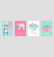 christmas cards with cute sloths celebrating vector image