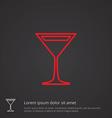 cocktail outline symbol red on dark background vector image vector image