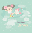 cute girl with her little unicorn vector image vector image