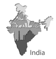 Cutout map of India with different leyers vector image vector image