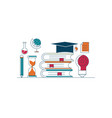 education concept icons flat line design vector image