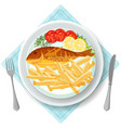 fish and chips served with vegetables vector image vector image