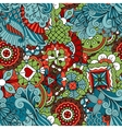Full frame seamless floral pattern colored green vector image vector image