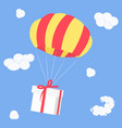 gift is flying on parachute delivery coming from vector image vector image