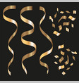 gold curling stream isolated on black background vector image vector image