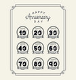 happy anniversary card with decades vector image vector image