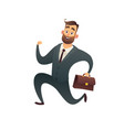happy businessman in suit with suitcase and runs vector image vector image
