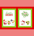 holiday greeting cards with santa snowman elf vector image vector image