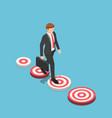 isometric businessman walking to bigger target vector image vector image