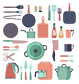 kitchen and restaurant icon tools set kitchenware vector image