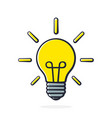 light bulb with beams in pop art style vector image