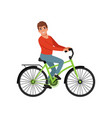 male bicyclist riding a bike active lifestyle vector image vector image