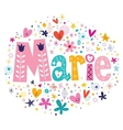 Marie female name decorative lettering type design vector image vector image
