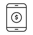 money symbol on smartphone screen line icon vector image
