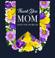 mother day flower card with spring blossom ribbon vector image vector image