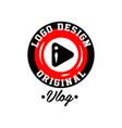 original round logo design for online video vector image