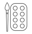 paint brush palette icon outline line style vector image