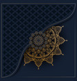 pattern with golden ornament mandala on navy blue vector image vector image