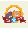 pet shop badge foot print kitten vector image