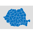 romania map - high detailed blue map with vector image vector image