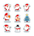 santa claus in different situations stickers set 2 vector image