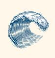 sea wave sketch surfriding concept vintage vector image vector image