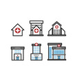 set hospital building icons for infographic vector image vector image
