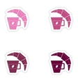 Set of paper stickers on white background coffee vector image vector image