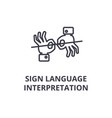 sign language interpretation line icon outline vector image