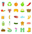 slaughterhouse icons set cartoon style vector image vector image