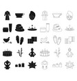 spa salon and equipment blackoutline icons in set vector image