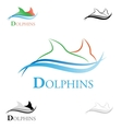 stylized dolphins vector image vector image
