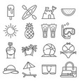 summer icons gray thin line set vector image vector image