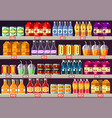 supermarket or shop showcase or stall with drinks vector image