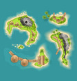 top view islands with volcano view from a height vector image vector image
