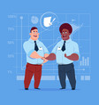 two business men handshake after signing contract vector image vector image