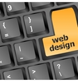 Web design text on a button keyboard vector image