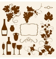 Winery design objects silhouettes vector image vector image