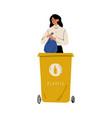 woman throwing plastic waste into garbage vector image vector image