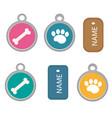 medallion dog tag set of icons flat cartoon vector image