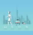 ai diverse robot with high technology design vector image vector image