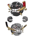 Angry evil hockey puck chomping a stick vector image vector image
