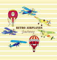 background with airplanes and hot air balloons vector image