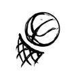 basketball balloon with basket net vector image vector image
