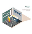 bicycle service isometric composition vector image