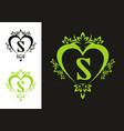 black green s initial letter in love shape frame vector image vector image