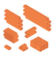 brick set and wall isometric view vector image vector image