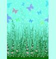 butterfly grass and flowers vector image vector image