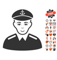 captain icon with love bonus vector image vector image