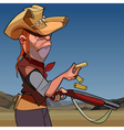 cartoon serious man in a hat and a gun vector image vector image